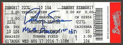 Dansby Swanson Ip Auto Signed Ticket Mlb Debut 1St Hit 8/17/16 Braves W Insc