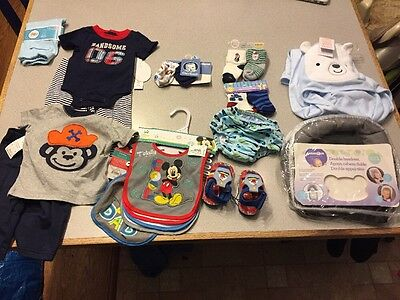 LOT OF NEW BOY Baby CLOTHING Bibs, swim diaper, and more Newborn - 12 months