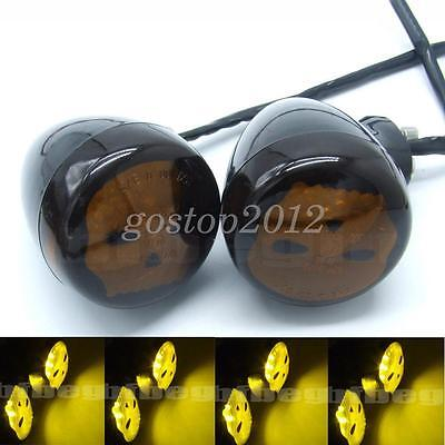 2x Universal Motorcycle Skull Shadow Amber LED Rear Turn Signal Indicator Lights