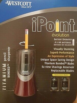 Westcott iPoint Red Electric Pencil Sharpener With 2 Spare Sharpeners Titanium