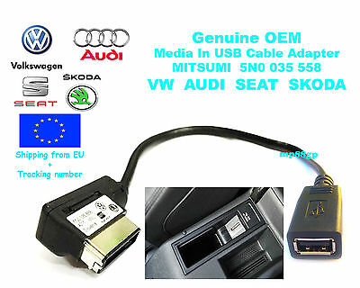 VW Golf Passat AUDI SEAT SKODA Genuine Media In USB Cable MDI Adpater