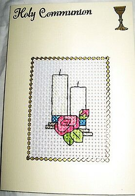 Communion Card Completed Cross Stitch Candle 6x4""