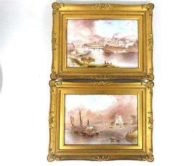 Pair Antique Porcelain Plaques Painted By F Micklewright Paragon Aynsley