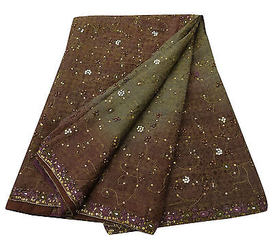 Vintage Saree Polyester Woven Green Craft Fabric Ethnic Antique Indian Sari 5YD