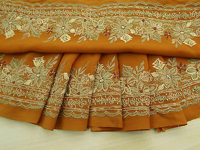Vintage Indian Sari Border Embroidered Trim Sewing Orange Sarong Ribbon Lace 1YD