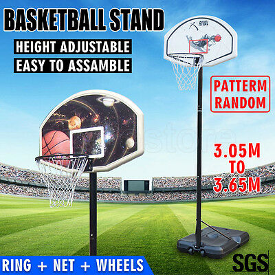 Portable Adjustable Basketball Stand System Height Net Ring Hoop Set Outdoor AU