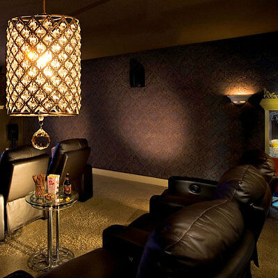 Bedroom Cylinder Crystal Chandelier Pendant Lighting Ceiling Lamp Fixture us