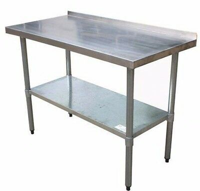 2FT X 4FT Stainless Steel Catering Table With Backsplash Movable Adjustable