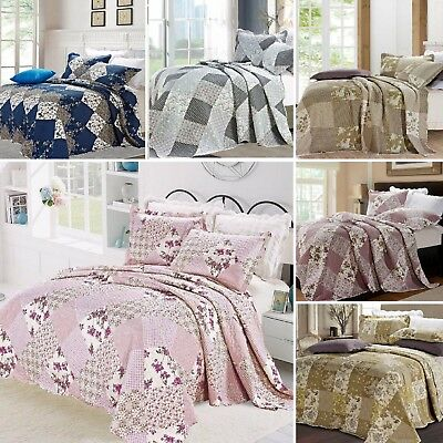 Patchwork 3 Piece Cotton Embroidered Bedspread Quilted Bedspread Bedding Throw