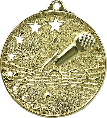 Microphone / Singing /  Karaoke Medal Gold 50mm With Neck Ribbon Engraved FREE