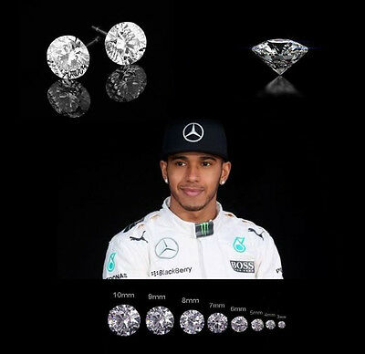 Men's/Boy's Lewis Hamilton White Gold Plate Cubic Zirconia Crystal Earrings