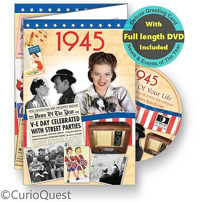 75th Birthday or Anniversary Card + 1944 News & Events Gift DVD