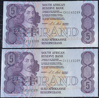 2 X B-Unc Gem South Africa Cl Stals Five Rand Banknotes In Sequence!!