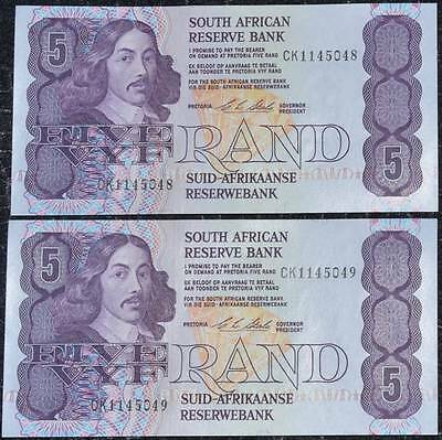 2 X Uncirculated South Africa Cl Stals Five Rand Banknotes In Sequence!!