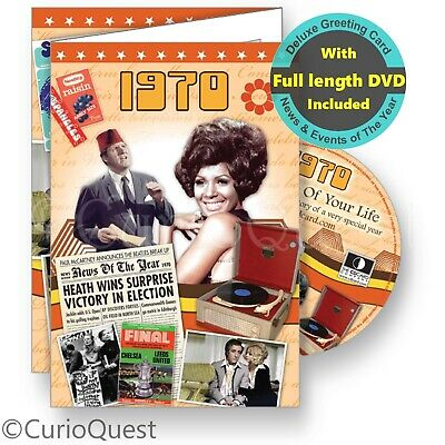 Personalised 50th Birthday, Golden Wedding Anniversary Card + 1967 News DVD Gift