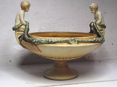 Amphora Austria Art Nouveau Pottery Pot Pourri Fruit Tazza Bowl Boy Putti c 1900