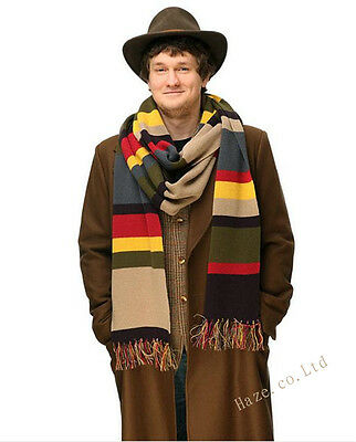 New Doctor Who Knitted Cosplay Costume DELUXE Tom Baker Striped Scarf