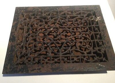 "Victorian Cast Iron Floor Grille 9"" X 12"" Heat Grate Register with Louvers"