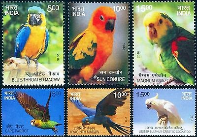India 2016 Exotic Foreign Birds 6v c/set MNH Parrots Macaw Bright colors