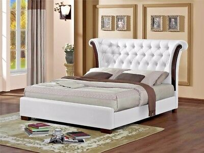 Lavish New Chesterfield Faux Leather Bed Frame In Black Or White 4'Ft6/5'Ft