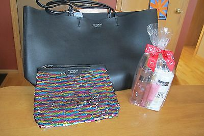 NWT Victoria's Secret Black Friday 2016 Leather Tote  Sequin Bag Beauty Products