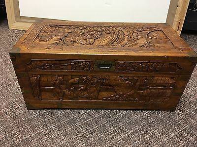 Antique Chinese Ornate Camphor Wood High Relief Carved Blanket Trunk/ Chest