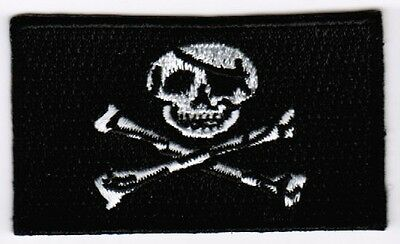 Jolly Roger Pirate Flag Patch Embroidered Iron On Applique