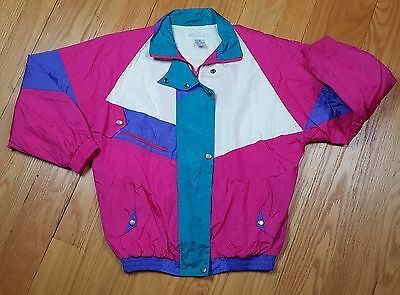 Vintage Womens 1980s Neon Colorblock Retro Windbreaker Jacket M Natural Issue