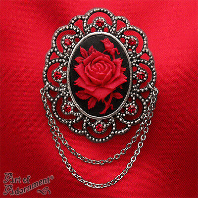 Gothic BLACK RED ROSE CAMEO BROOCH Crystal Silver Victorian Style Rhinestone P35