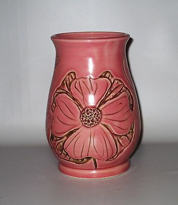 Studio Pottery Pink Vase Incised Flowers Signed 2007 Naked Dancing Lady Mark