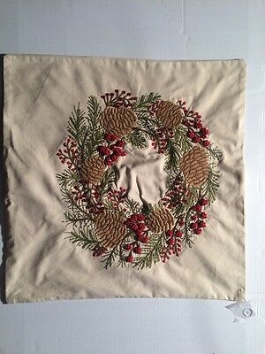"""Pottery Barn Pinecone and Berry Pillow Cover Holiday Christmas 24"""" *off Center"""