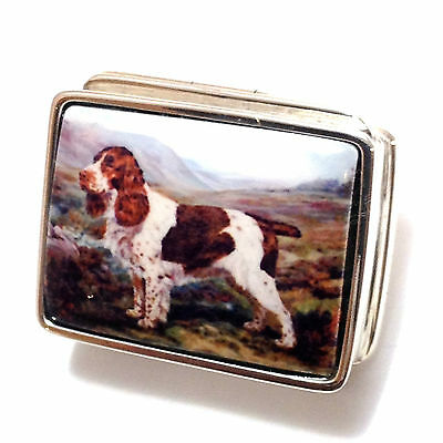 Enamel Antique Style Dog Pill Box 925 Solid Sterling Silver