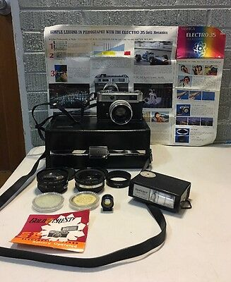 YASHICA IC LYNX 14E WITH YASHINON DX 45mm f1.4 LENS , Case Auxiliary Lens Ect.