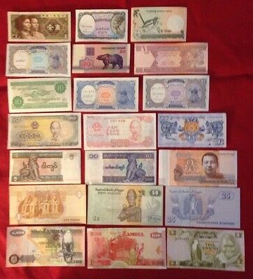 21 Pcs of Different World Mix (Mixed) Foreign Banknotes Currency Lot, Unc