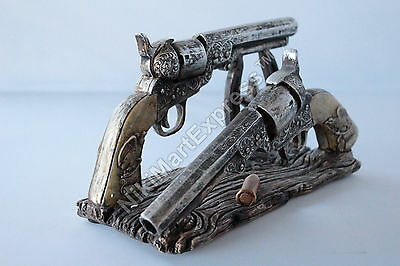 Western Cowboy Rustic Gun Pistol Bullet Envelope Holder Home Office Decoration