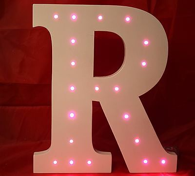 Large Handmade Wooden Freestanding Night/light Letters With Light Up Led Lights
