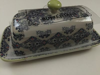 New Royal Hand-Painted Floral Ceramic Butter Dish