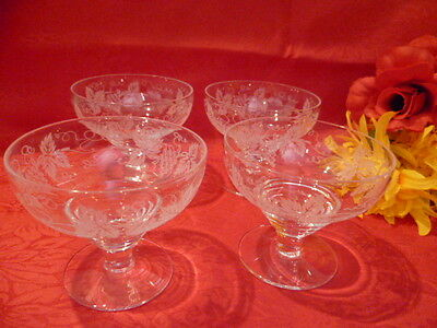 4 X   Vintage Signed Stuart  Crystal Glasses  Grape Design