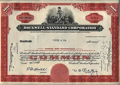 Rockwell Standard Corporation Stock Certificate Red