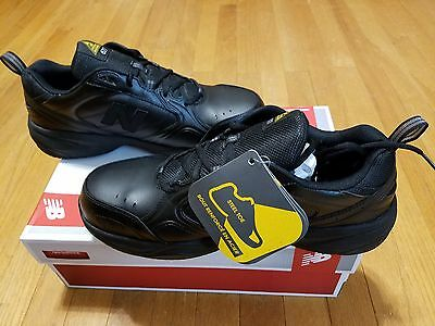 NEW BALANCE MID627 Mens Black Leather STEEL TOE  ANTI-SLIP WORK SHOES