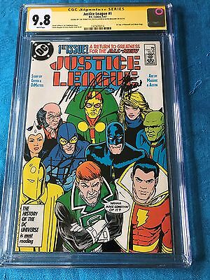 Justice League (1987) #1 - DC - CGC SS 9.8 - Signed by Maguire DeMatteis Giffen