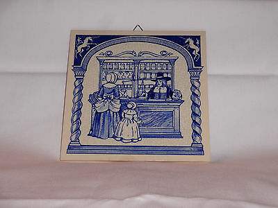 Vintage 1988 Blue Delft Holland Pharmacy Pill Tile by Burroughs Wellcome EUC
