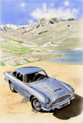 Aston Martin Db5 Giclee Print From Swiss Alps Signed Limited Edition