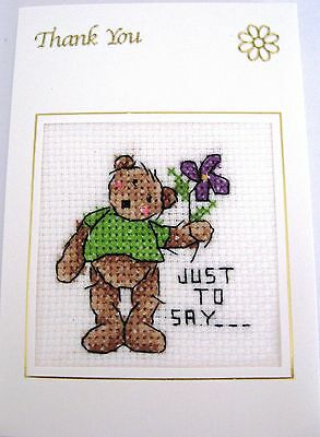 Thank You Card Completed Cross Teddy Just to Say 6x4""