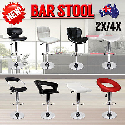 4X / 2X New PU PVC Leather Bar Stools Kitchen Chair Gas Lift Dining Home Office