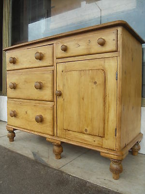 Small Victorian Antique Pine Dresser Base / Small Victorian Pine Sideboard