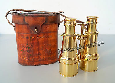 Vintage Made For Royal Brass Telescope Binocular With Leather Box Christmas Gift