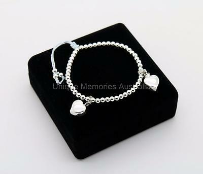 925 Sterling Silver Memorial Cremation Urn Bracelet with 2 Heart Charms + Case