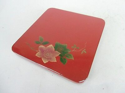 LW514 Japanese small Plate Wood  Flower Red Square Makie Vintage Lacquer ware