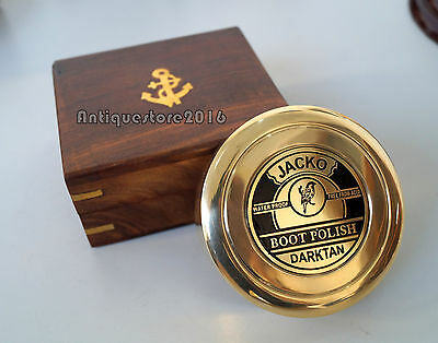 Vintage Solid Brass Boot Polish Compass Beautiful Collectible With Wooden Box
